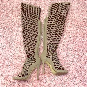 Thigh high cut out open toe boots